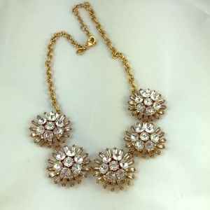 J Crew Rhinestone Flower Necklace